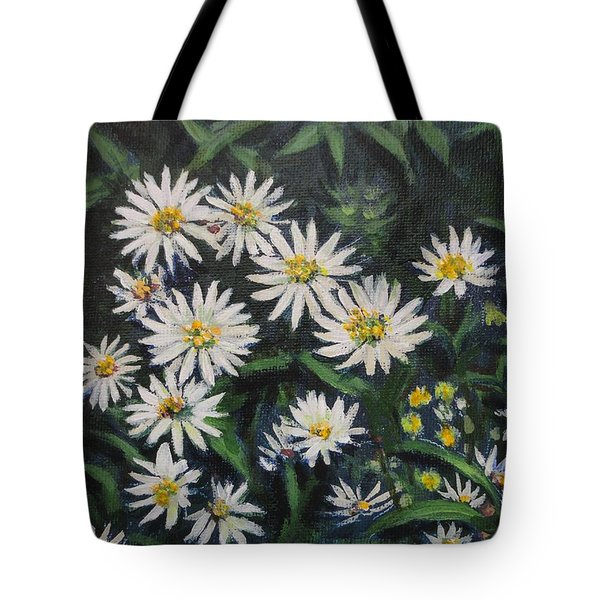 Whie Asters Tote Bag by Usha Shantharam