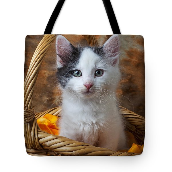 White And Gray Kitty Tote Bag by Garry Gay
