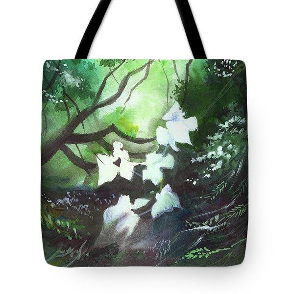 White Begonia Tote Bag by Anil Nene
