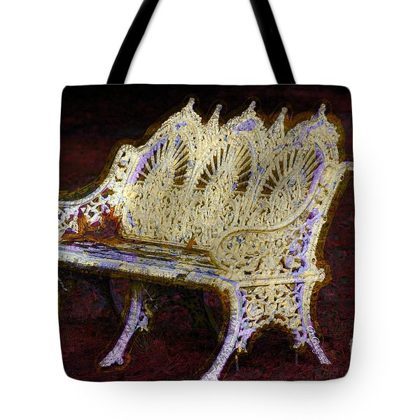 Tote Bag featuring the photograph White Bench by Donna Bentley