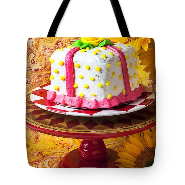 White Cake Tote Bag by Garry Gay
