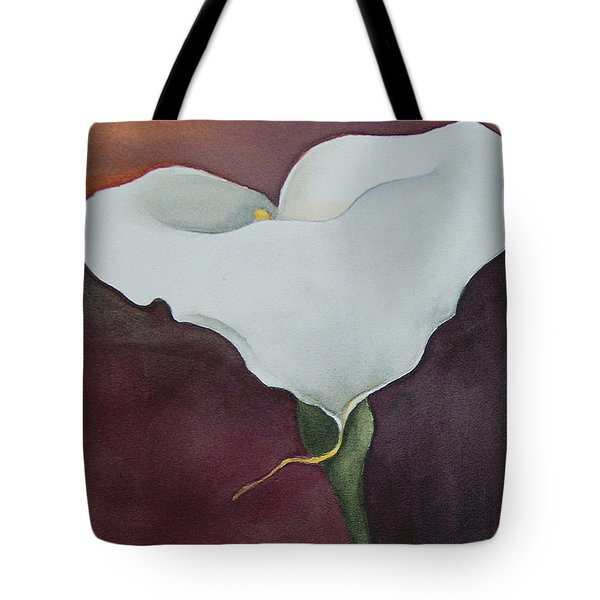 White Calla In Burgundy Tote Bag