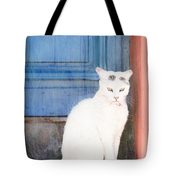 White Cat Tote Bag by Tom Gowanlock