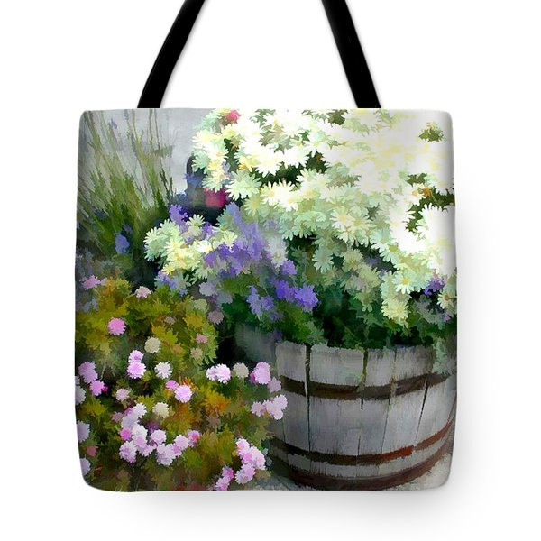 White Chrysanthemums In A Barrel Tote Bag by Elaine Plesser