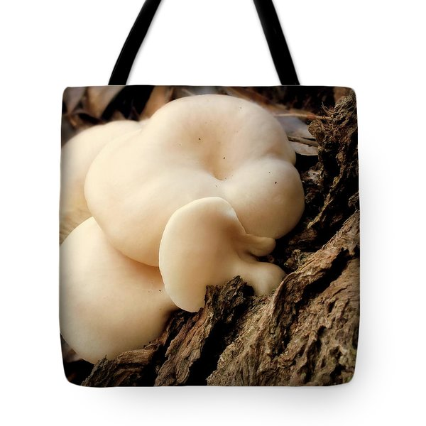 White Cloud Mushrooms Tote Bag by Karen Wiles