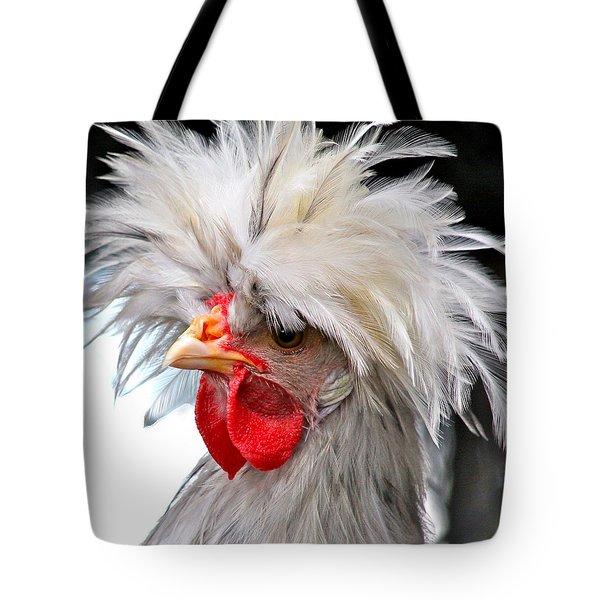 White Crested Blue Polish Cockerel Tote Bag by Karon Melillo DeVega