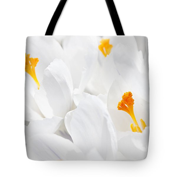 White Crocus Blossoms Tote Bag by Elena Elisseeva
