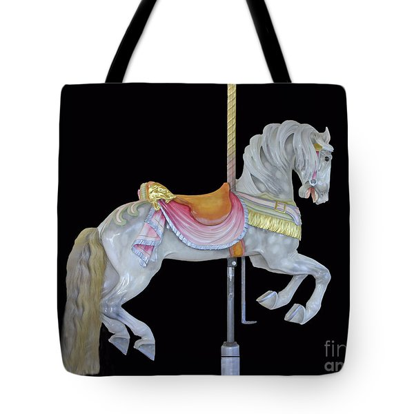 White Dappled Carousel Horse Tote Bag