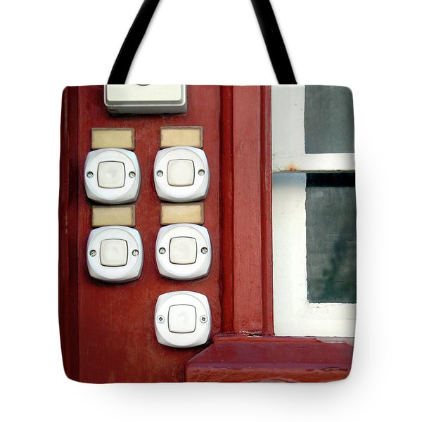 White Doorbells Tote Bag by Carlos Caetano