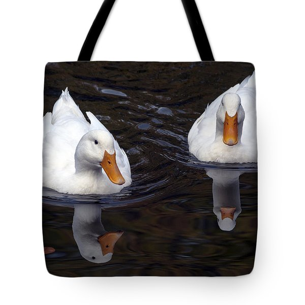 White Ducks At Sterne Park Lake Tote Bag by Stephen  Johnson