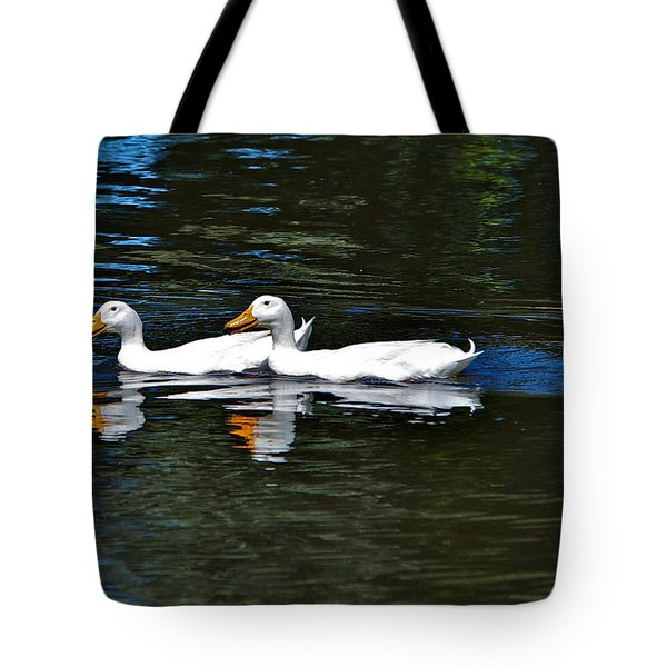 White Ducks At Sterne Park Tote Bag by Stephen  Johnson