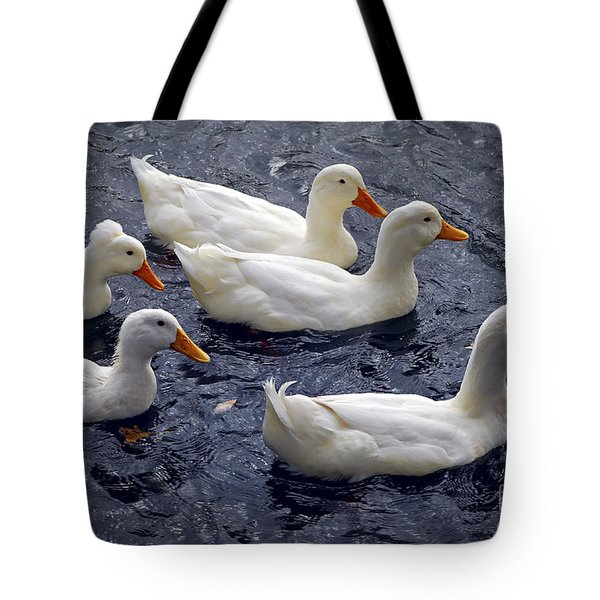 White Ducks Tote Bag by Elena Elisseeva
