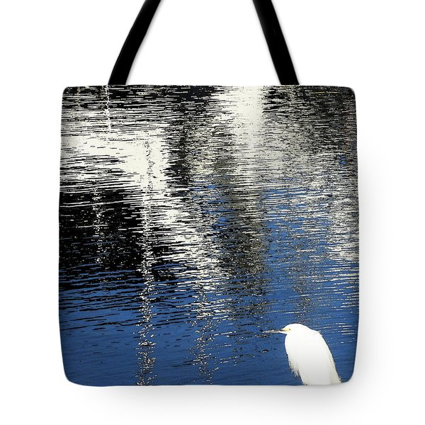 White Egret On Dock With Colorful Reflections Tote Bag by Anne Mott