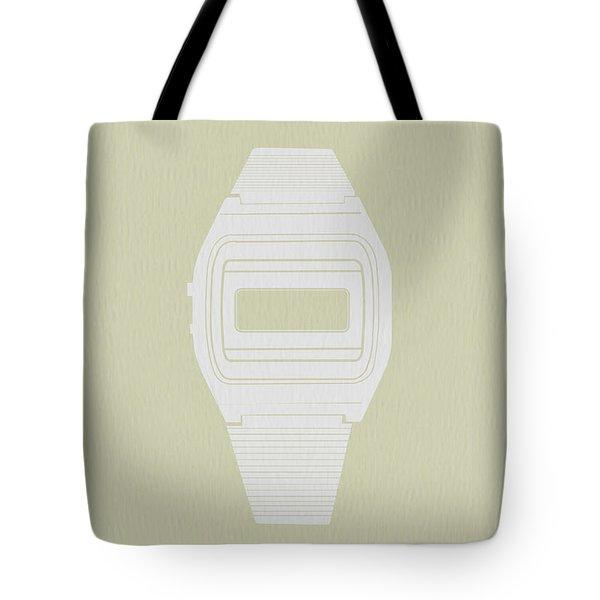 White Electronic Watch Tote Bag by Naxart Studio