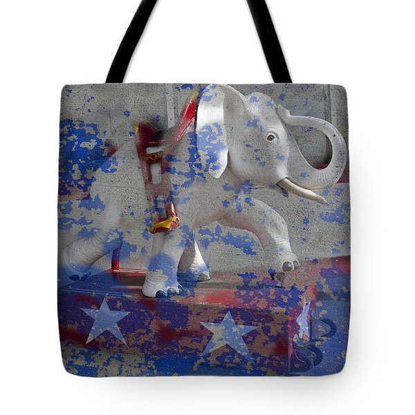 White Elephant Ride Abstract Tote Bag by Garry Gay