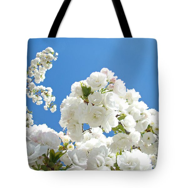 White Floral Blossoms Art Prints Spring Tree Blue Sky Tote Bag by Baslee Troutman