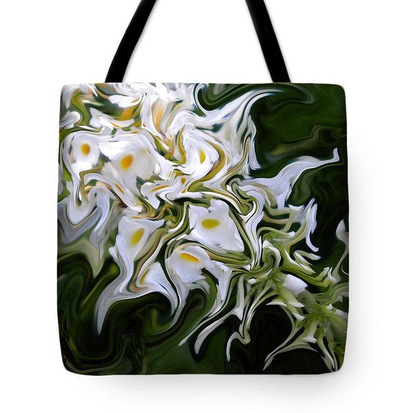 White Flowers 2 Tote Bag by Renate Nadi Wesley