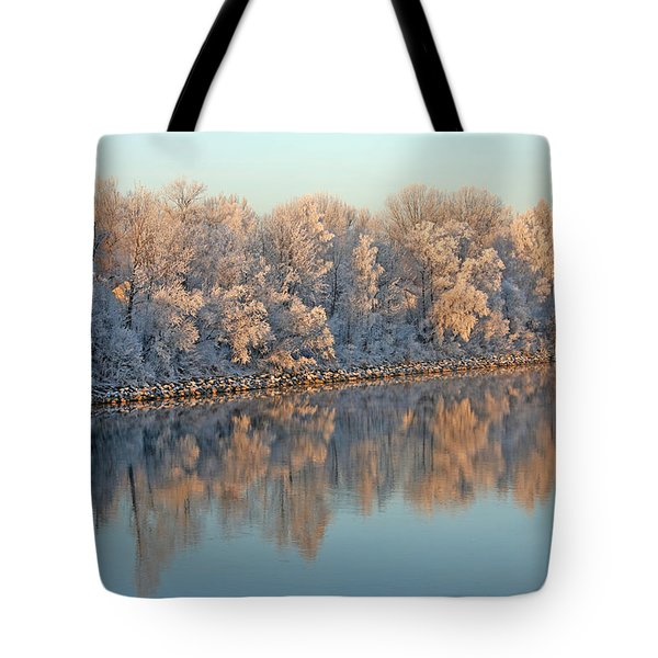 White Frost In Trees Tote Bag by Ralf Kaiser