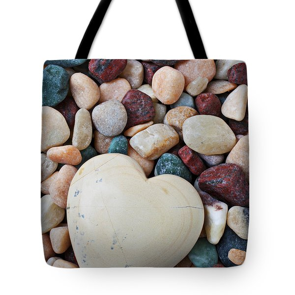 White Heart Stone Tote Bag by Garry Gay