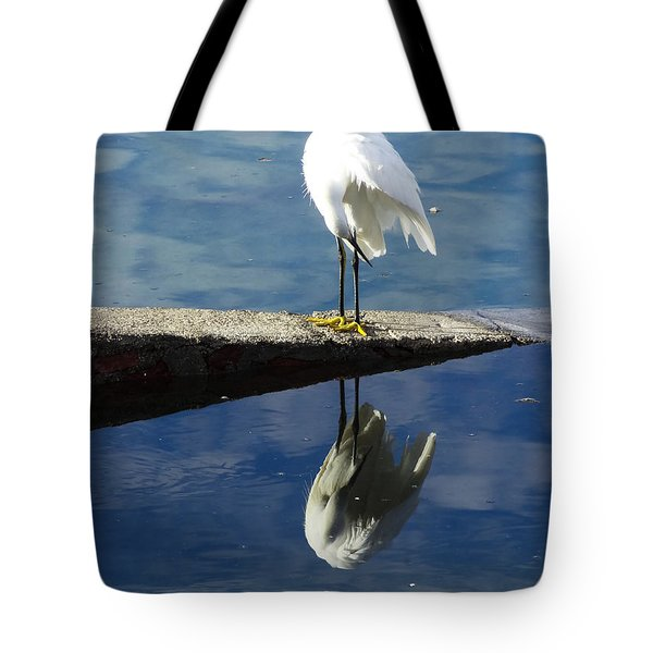 White Heron Tote Bag by Anne Mott