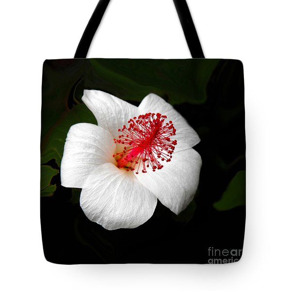 Tote Bag featuring the photograph White Hibiscus Flower by Rebecca Margraf