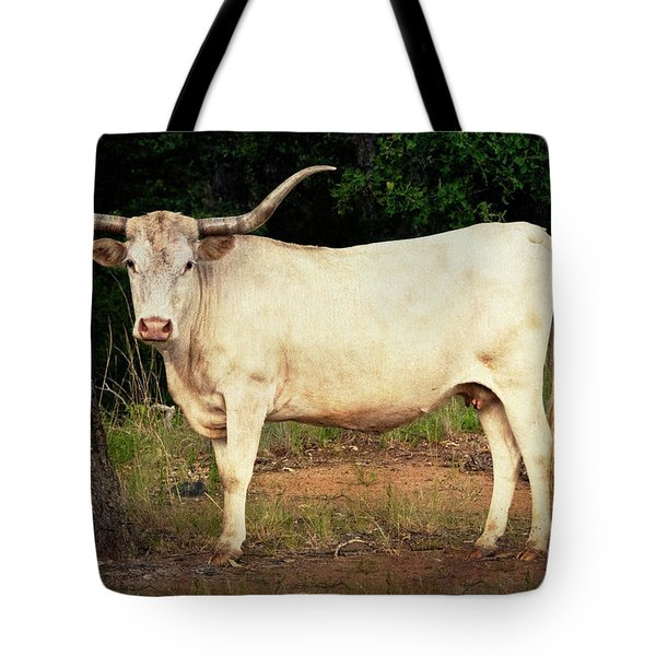 White Longhorn Tote Bag by Tamyra Ayles