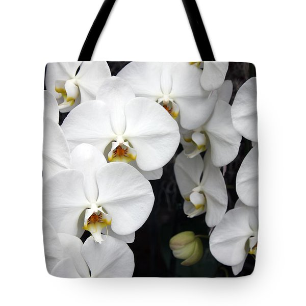 Tote Bag featuring the photograph White Orchids by Debbie Hart