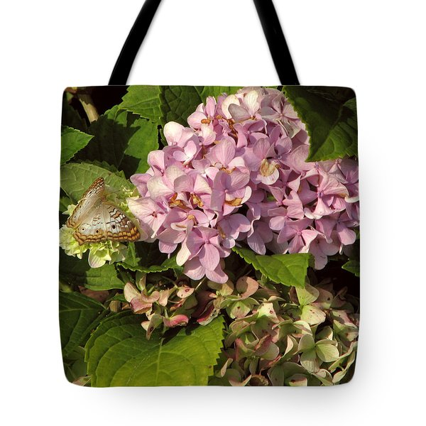 White Peacock On Hydrangea Tote Bag