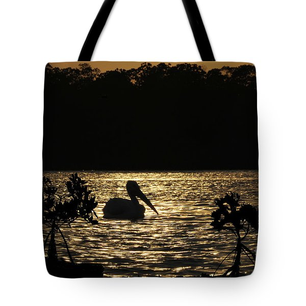 Tote Bag featuring the photograph White Pelican Evening by Dan Friend
