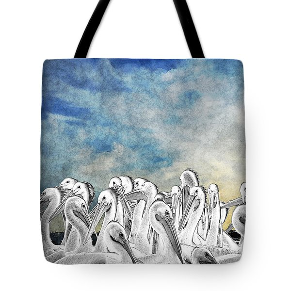 White Pelicans In Group Tote Bag by Dan Friend