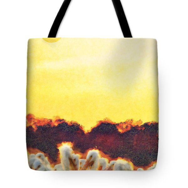 Tote Bag featuring the photograph White Pelicans In Sun by Dan Friend