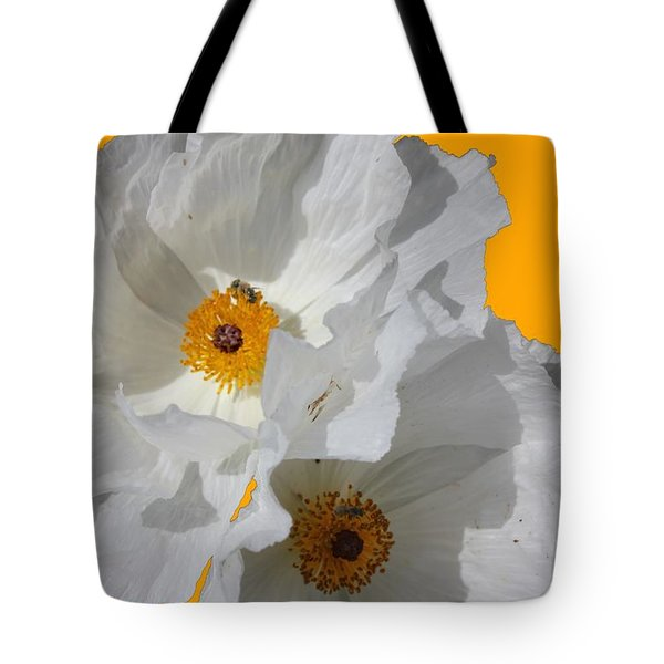 White Poppies On Yellow Tote Bag by Betty Northcutt