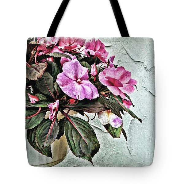 White Pot Tote Bag by Joan  Minchak