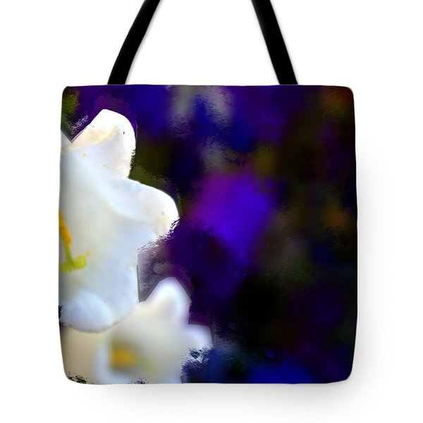White Purple Tote Bag by Terence Morrissey