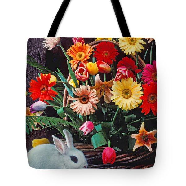 White Rabbit By Basket Of Flowers Tote Bag by Garry Gay