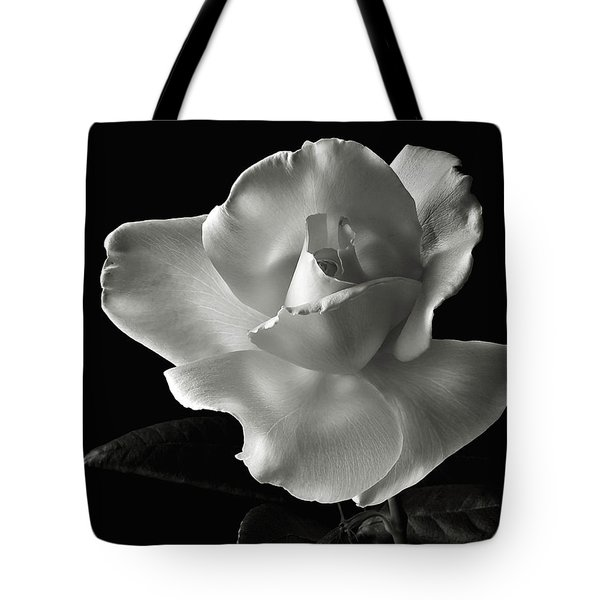 Tote Bag featuring the photograph White Rose In Black And White by Endre Balogh