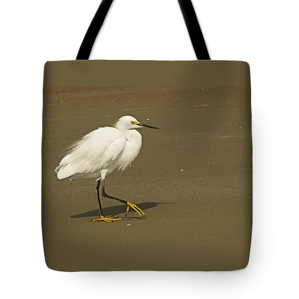 Tote Bag featuring the photograph White Seabird Walking by Barbara Middleton