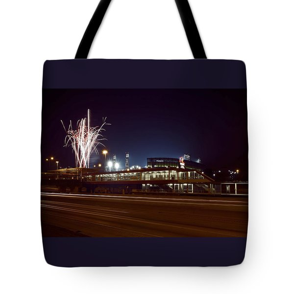 White Sox Homer Fireworks Tote Bag by Sven Brogren