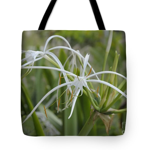 White Spider Orchid Tote Bag