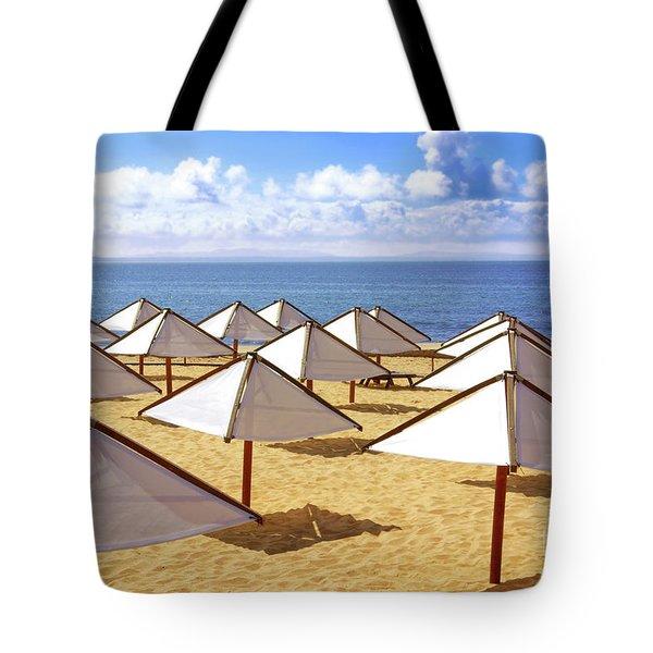 White Sunshades Tote Bag by Carlos Caetano