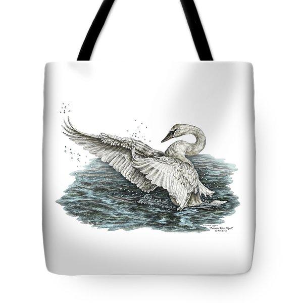 White Swan - Dreams Take Flight-tinted Tote Bag