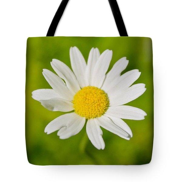 White Petals Yellow Center Tote Bag