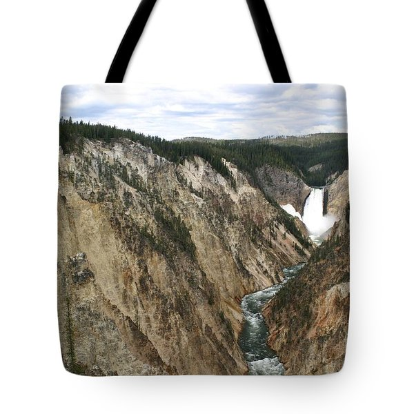 Wide View Of The Lower Falls In Yellowstone Tote Bag by Living Color Photography Lorraine Lynch