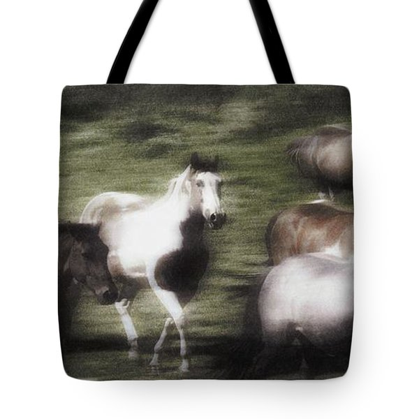 Wild Horses On The Move Tote Bag by Don Hammond