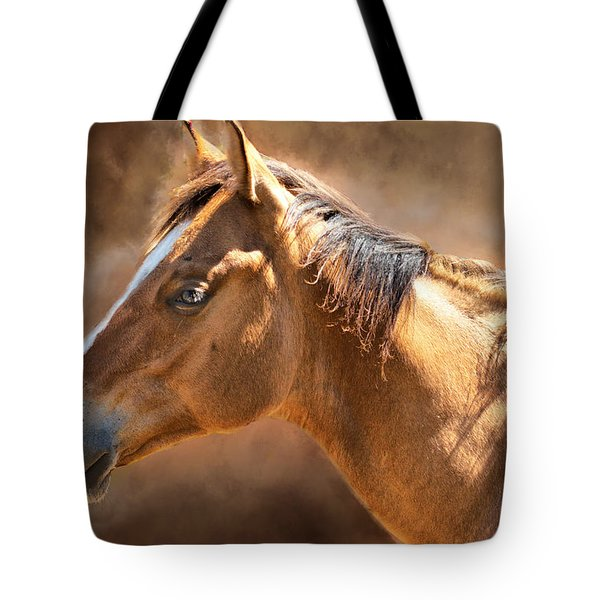 Tote Bag featuring the digital art Wild Mustang by Mary Almond