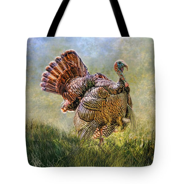 Tote Bag featuring the digital art Wild Turkey by Mary Almond