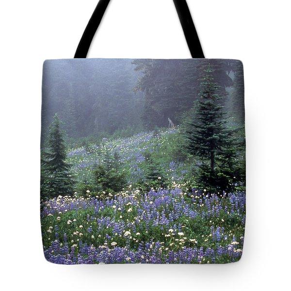 Wildflower Meadow Mt Rainier Tote Bag