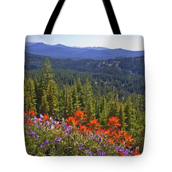 Wildflowers And Mountaintop View Tote Bag by Ellen Thane and Photo Researchers