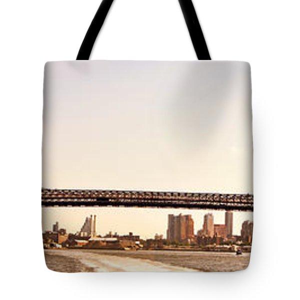 Williamsburg Bridge And The New York City Skyline Panorama Tote Bag by Vivienne Gucwa