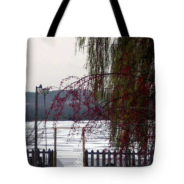 Willows And Berries In Winter Tote Bag by Desiree Paquette